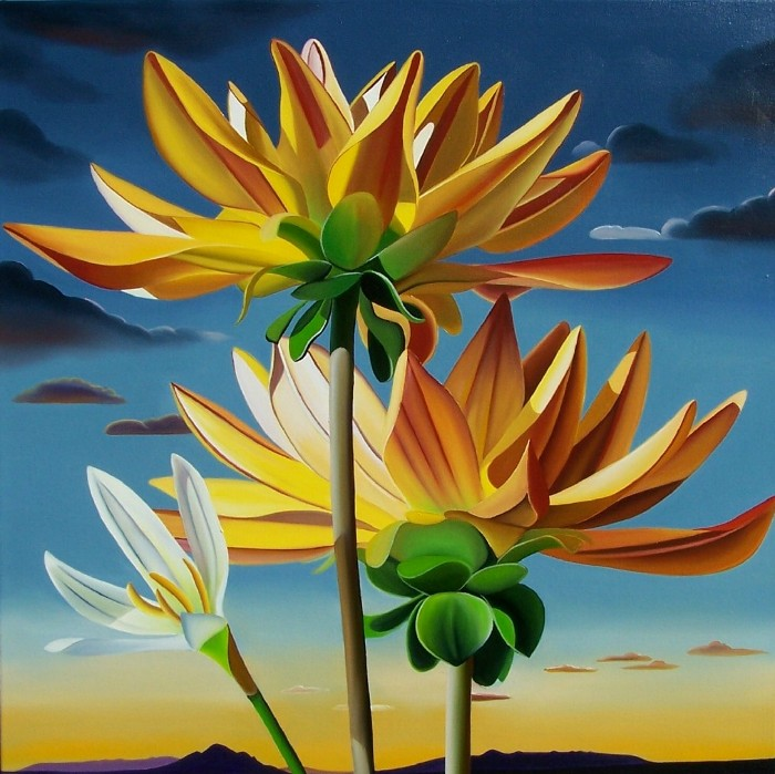 """""""Hope"""" Dahlias at Sunset, Camelback Mt. by: Dyana Hesson 36"""" x 36"""" oil on canvas"""