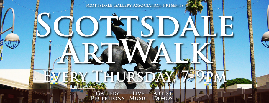 Advertisement for the Scottsdale Art Walk Every Thursday, 7-9pm