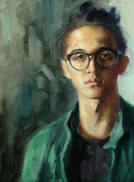 """""""Kalvin, Portrait of a Young Man"""" by: Robin Wellner 16"""" x 20"""" oil on board"""
