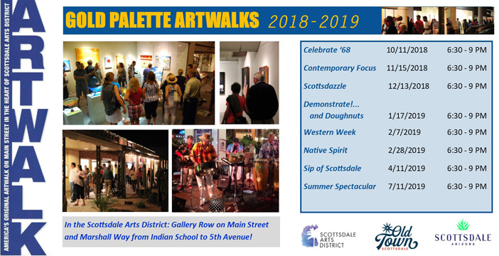 2018 - 2019 Gold Palette ArtWalk schedule