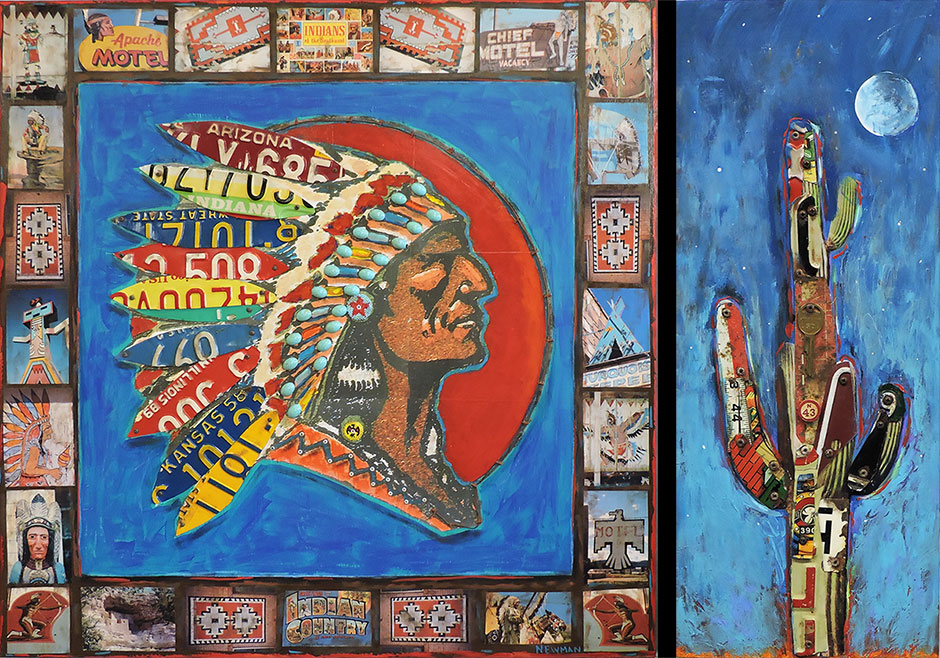 colorful western theme 2D artwork of Native American themes, saguaro cactus in paint and found objects